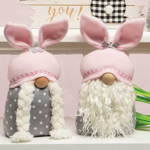 BUTTON AND BOWS BUNNY GNOME WITH PINK BUNNY EARS, WOOD NOSE, WHITE BEARD/BRAIDS