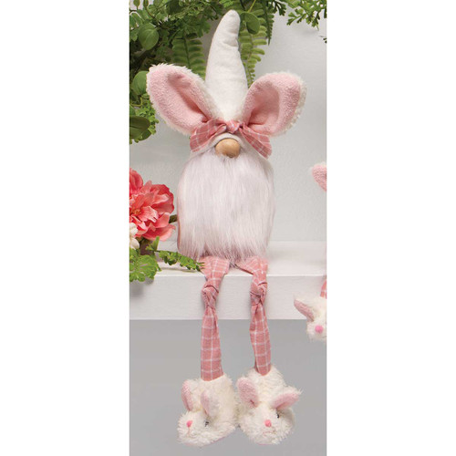 SLUMBER PARTY GNOME WITH BUNNY EARS HAT, WOOD NOSE, WHITE BEARD, KNOTTED LEGS AND BUNNY SLIPPERS