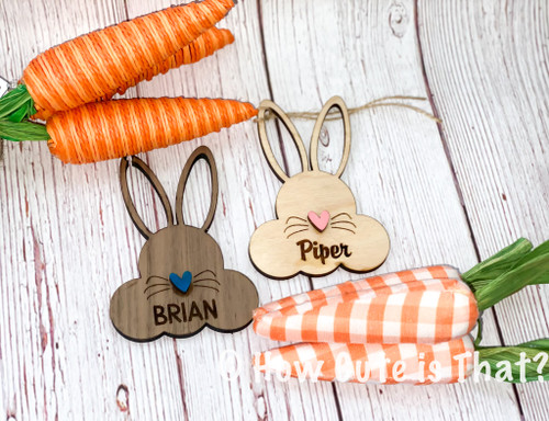 engraved, wood Easter bunny basket tag
