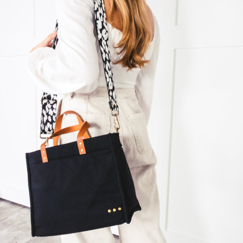 Carrie Black canvas tote with Black and White Animal PrintCrossbody Strap