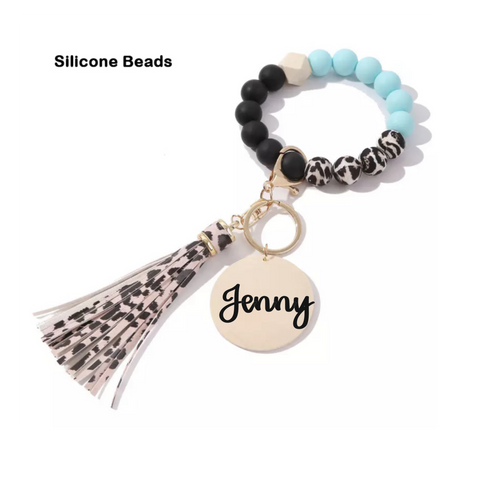 personalized blue cheetah silicone bead keychain
