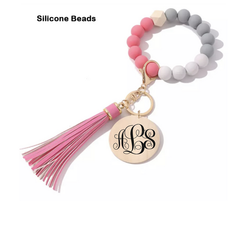 personalized pink silicone bead keychain