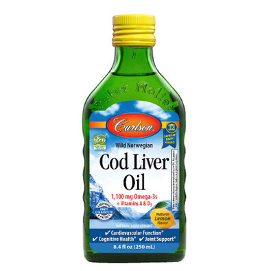 Carlson Cod Liver Oil helps maintain good health and development and it also supports overall cognitive health.