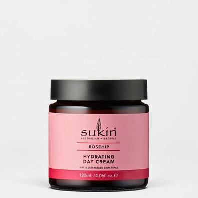 Sukin Rosehip Hydrating Day Cream helps relieve dehydrated skin and prevent premature aging.