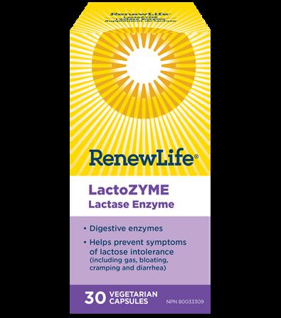 Renew Life LactoZyme digestive enzyme 30 vegetarian caps