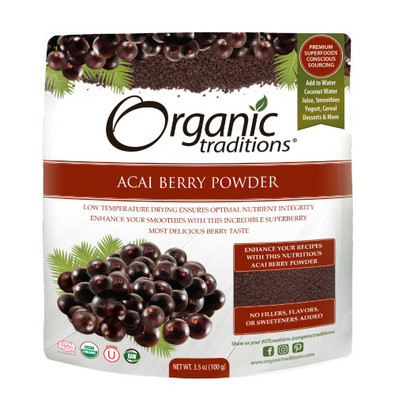 Organic Traditions Acai Berry Powder is nutritionally ideal with low glycemic levels and contains a host of antioxidants.