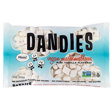 Dandles Mini Vanilla Flavoured Marshmallows are gluten free, and vegan friendly.