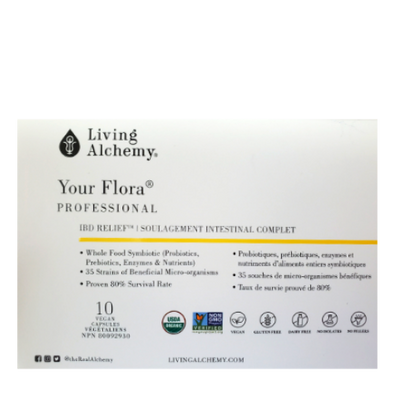 Living Alchemy Your Flora Professional Probiotics, Prebiotics, Enzymes & Nutrients package
