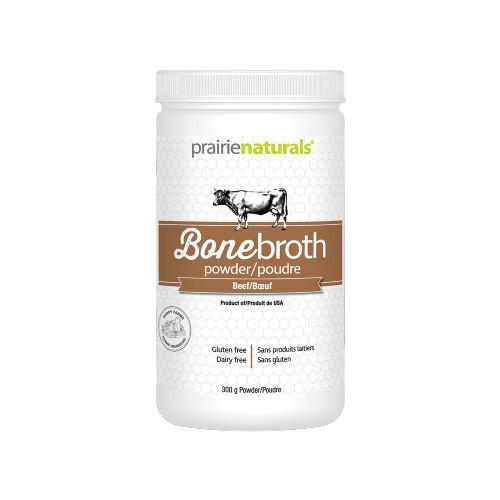 Prairie Naturals Bone Broth Powder Beef source of protein.  Canada