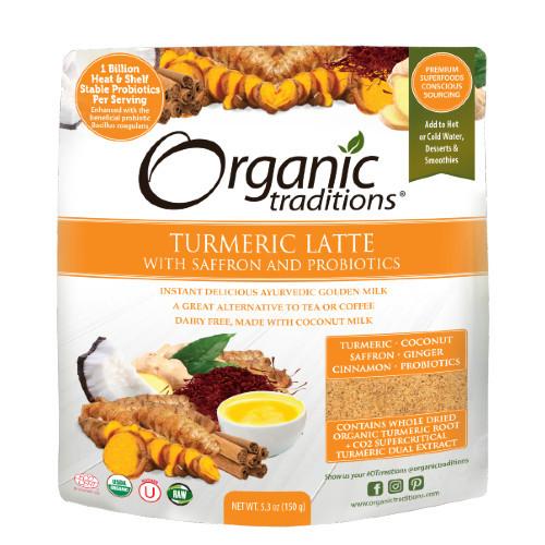 Organic Traditions Turmeric Latte with Probiotics and Saffron 150 grams