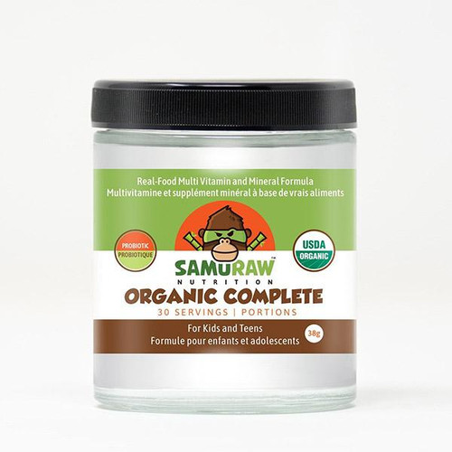 Samuraw Nutrition Organic Complete for kids and teens.  Organic multivitamin powder.  Made in Canada