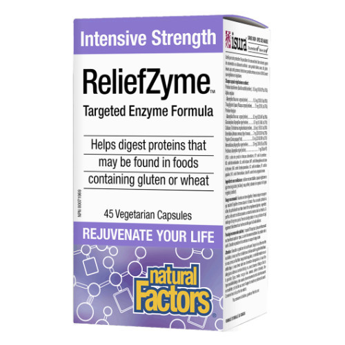 Natural Factors ReliefZyme helps digest or  break down gluten, wheat and dairy products.  Canada