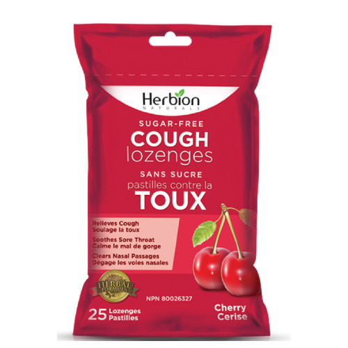 Herbion Naturals Sugar-free Cough Lozenges Cherry Canada relieves cough for diabetics