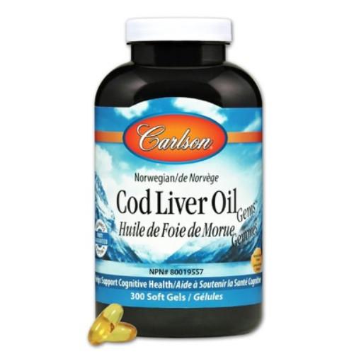 Carlson Cod Liver Oil Gems Lemon Flavoured soft gels brain health Canada