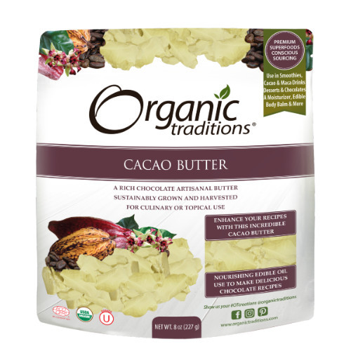 Organic Traditions Cacao Butter healthy fat Canada 227 grams