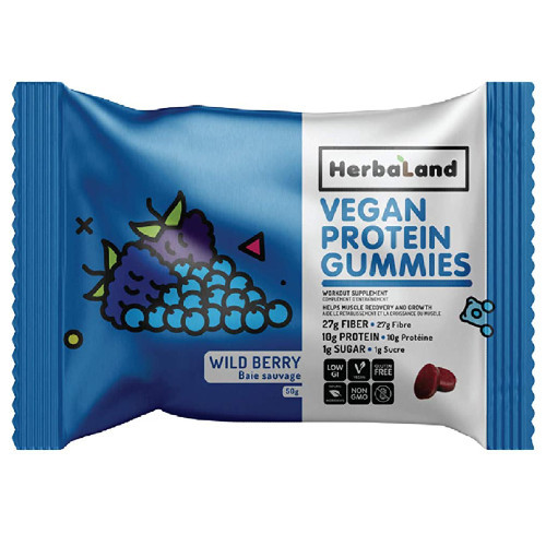 HerbaLand Wild Berry Protein Gummies High Protein and Fibre Canada