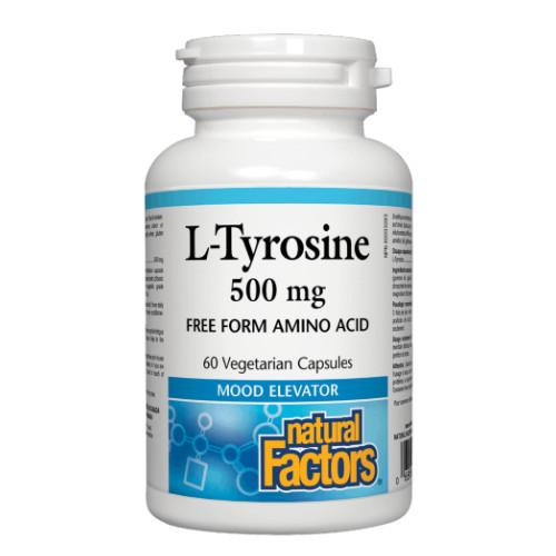 Natural Factors L-Tyrosine mood elevator, amino acid.  60 veg caps.