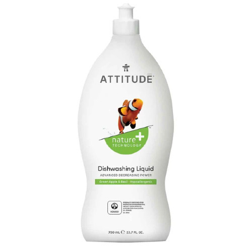 Attitude Green Apple & Basil Dishwashing Liquid 700 ml Canada Natural Vegan degreasing