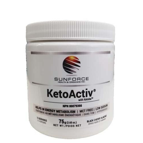 Sunforce KetoActiv with Ketoba Black Cherry Almond Flavour 75 grams energy burn fat weight loss ketosis Canada