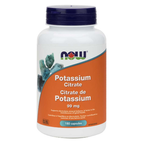 NOW Potassium Citrate 99 mg electrolyte mineral balance Canada