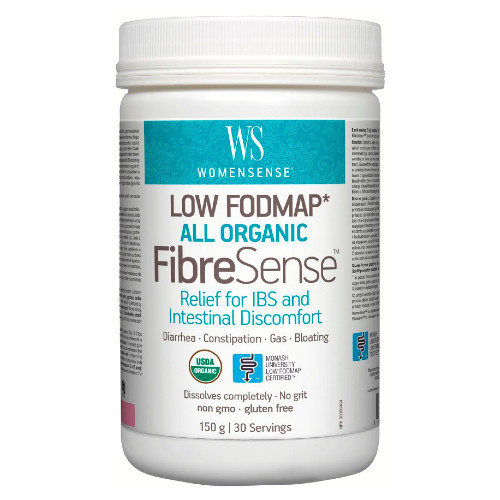WomenSense Low FODMAP All Organic FibreSense 150 grams IBS constipation gas bloating Canada