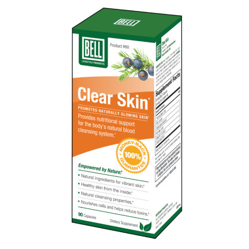 Bell Clear Skin treats acne, eczema, psoriasis and rosacea from inside your body.  New look.