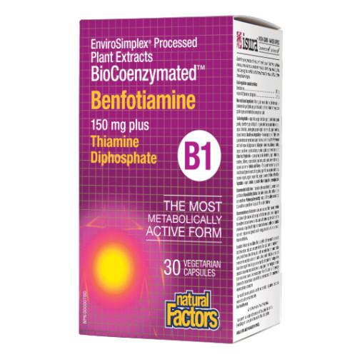 Natural Factors BioCoenzymated Benfotiamine Vitamin B1 30 Veg Caps Nerve Health