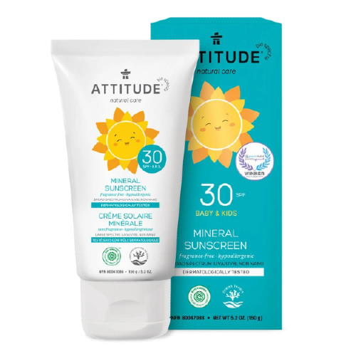 Attitude Natural Care Baby & Kids 30 SPF Mineral Sunscreen Fragrance Free