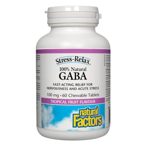 Natural Factors GABA 50 chewable tablets per bottle for stress relief.