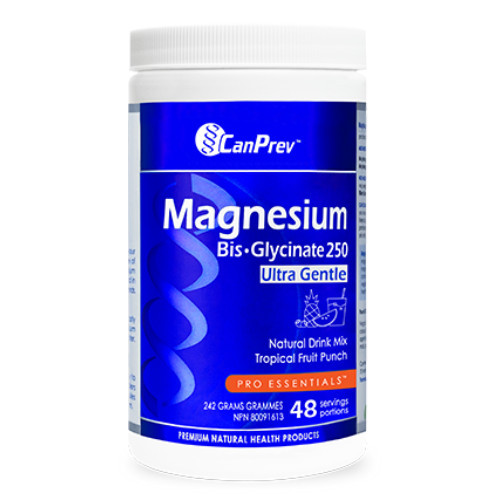 CanPrev Magnesium Bis-Glycinate 250 Ultra Gentle 242 grams Tropical Fruit Punch