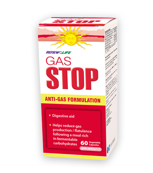 Renew Life GasSTOP anti-gas formulation in 60 vegetable capsules per bottle.