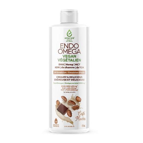 Emerald Naturals Endo Omega Vegan DHA-Hemp-MCT oil emulsion Cafe Mocha 473 ml