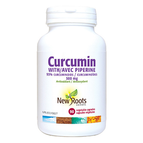 New Roots Curcumin with Piperine antioxidant, reduce inflammation, cardiovascular health 90 caps