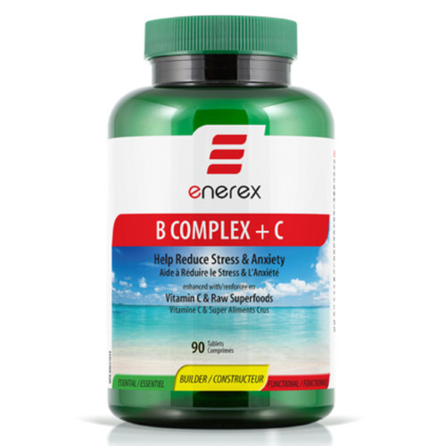 Enerex B Stress Free with Vitamin C and Raw Superfoods in 90 tablets per bottle.