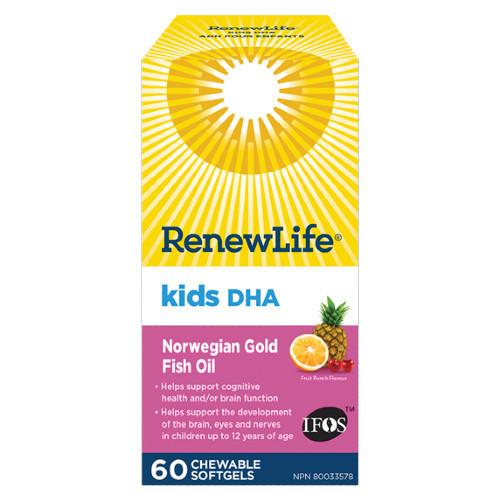 Renew Life Kids DHA Norwegian Gold Fish Oil 60 chewable softgels