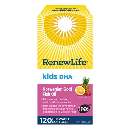 Renew Life Kids DHA Norwegian Gold Fish Oil 120 chewable softgels Canada