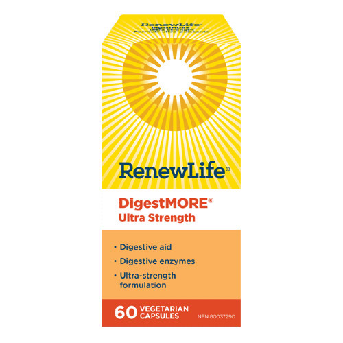 Renew Life DigestMORE Ultra Strength digestive enzymes and digestive aid.  60 vegetable capsules per bottle. NEW LOOK