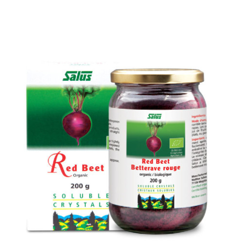 Flora Salus Organic Red Beet Soluble Crystals in a 200 gram container.