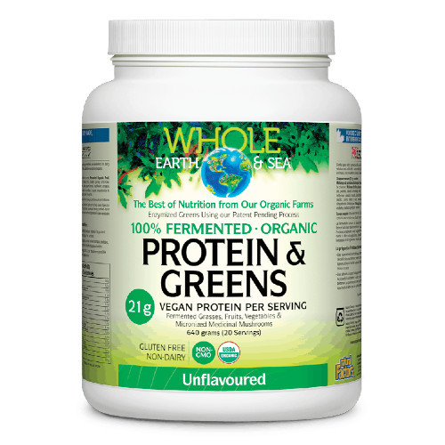 Natural Factors Whole Earth & Sea 100% Fermented Proteins & Greens Unflavoured 640 grams