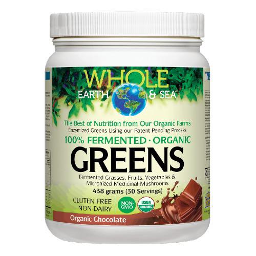 Natural Factors Whole Earth & Sea 100% Fermented Organic Greens Chocolate 438 grams