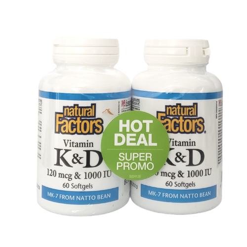 Natural Factors Vitamin K & D 120 mcg & 1000 IU 2 x 60 softgels shrinkwrap