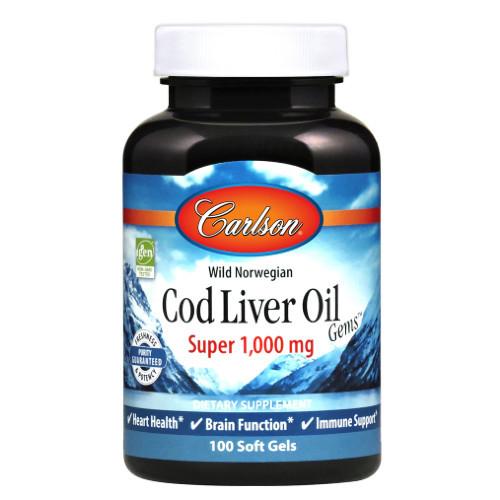 Carlson Norweigen Cod Liver Super 1000 mg 100 softgels Canada