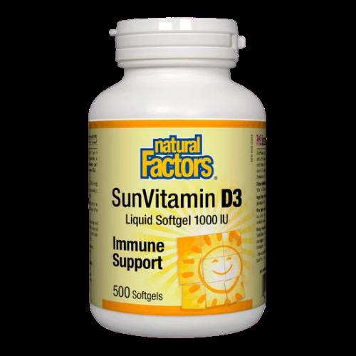 Natural Factors SunVitamin D3 Liquid Softgel 1000 IU Immune Support 500 sg