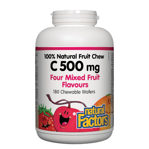 Natural Factors Vitamin C 500 Four Mixed Fruit Flavours 180 chewable wafters