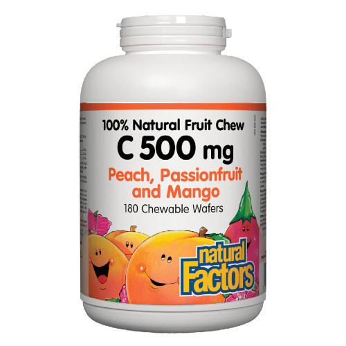 Natural Factors Vitamin C 500 mg Peach Passionfruit Mango Flavoured 180 chew wafers