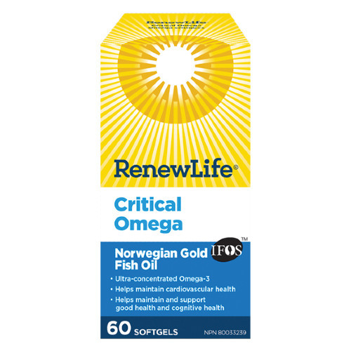 Renew Life Critical Omega Ultra-Concentrated Omega-3 60 fish gels. NEW LOOK