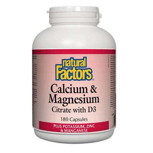 Natural Factors Calcium & Magnesium Citrate with D3.  180 capsules