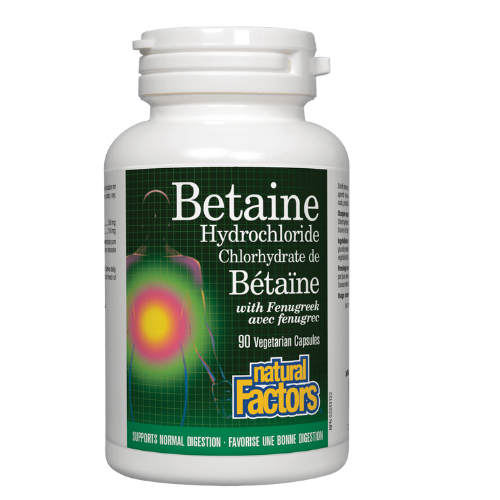 Natural Factors Betaine Hydrochloride with Fenugreek  90 vegetarian capsules