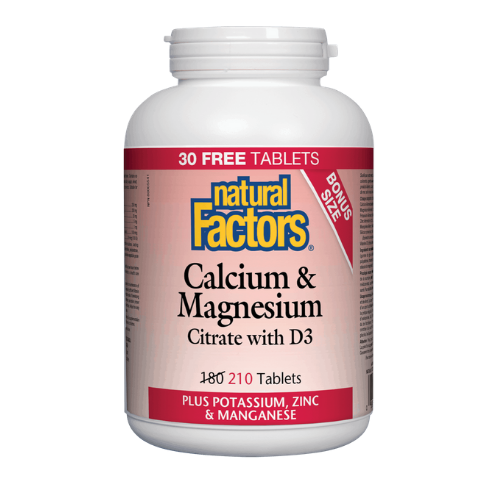 Natural Factors Calcium & Magnesium Citrate with D3 Bonus Size 210 tablets