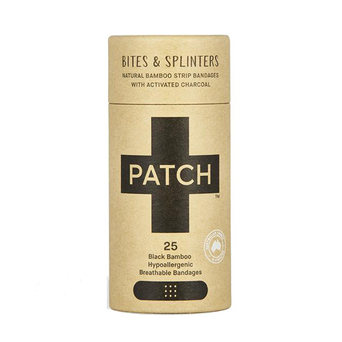 Patch Activated Charcoal Adhesive Bandages 25 black bamboo bandages